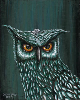 Owl And Mouse Art Print by Kimberly Schwarzkopf