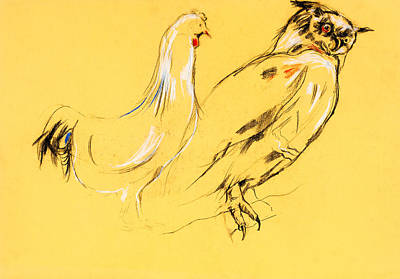 Celebrity Watercolors - Owl and rooster painting  by Ivailo Nikolov by Boyan Dimitrov