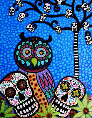 Owl And Sugar Day Of The Dead Art Print by Pristine Cartera Turkus