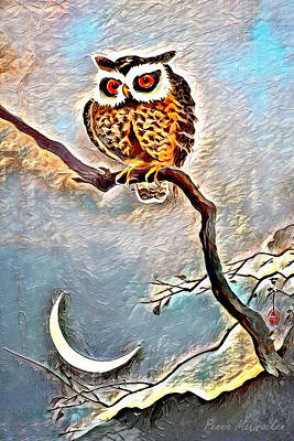 Digital Art - Owl And The Moon by Pennie McCracken