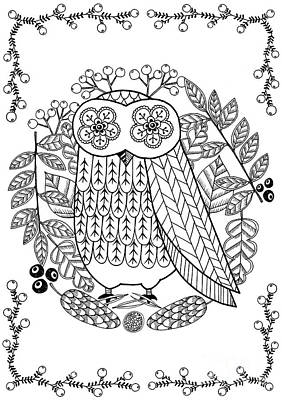 Fun Flowers Drawing - Owl by Anne Vasko