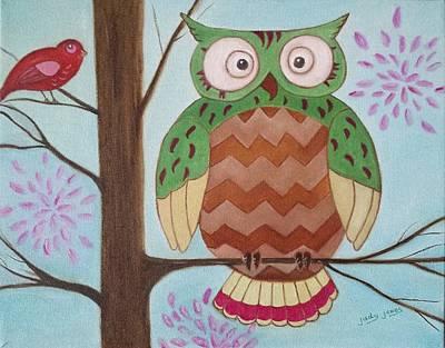 Animals Paintings - Owl Art by Judy Jones