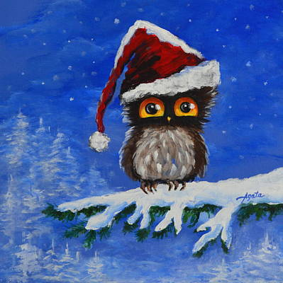 Painting - Owl Be Home For Christmas by Agata Lindquist
