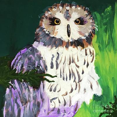 Painting - Owl Behind A Tree by Donald J Ryker III