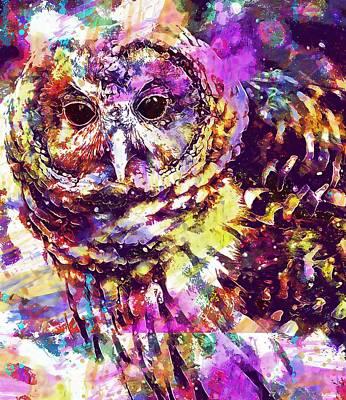 Digital Art - Owl Bird Snow Nature Art  by PixBreak Art