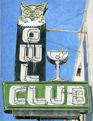 Drawing - Owl Club by Rob De Vries