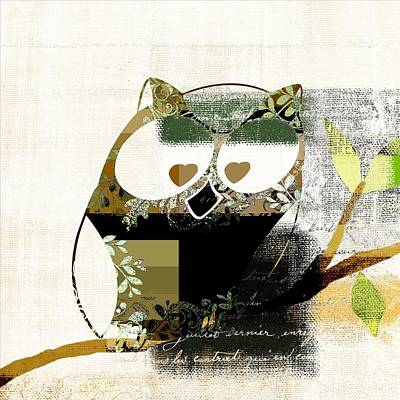 Digital Art - Owl Design - J164049167-v03 by Variance Collections