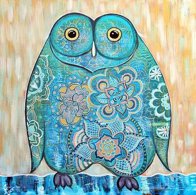 Wall Art - Painting - Owl Doodle Painting by Carol Iyer