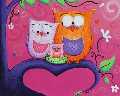 Owl Family Art Print by Jennifer Alvarez
