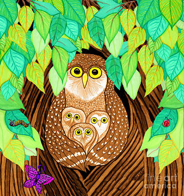 Animals Drawings - Owl Family Tree by Nick Gustafson