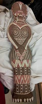 Sculpture - Owl Goddess Oops by Kristen R Kennedy