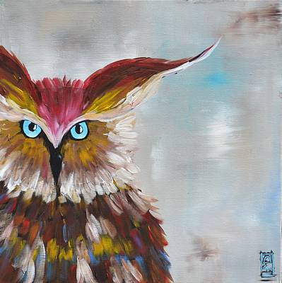 Painting - Owl by Holly Donohoe