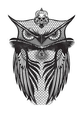 Digital Art - Owl Illustration by IamLoudness Studio