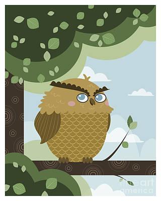 Owl In A Branch Art Print