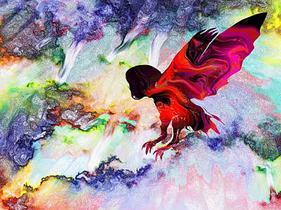 Owl Digital Art - Owl In A Colorful Storm by Abstract Angel Artist Stephen K