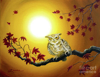 Maple Leaf Art Painting - Owl In Autumn Glow by Laura Iverson