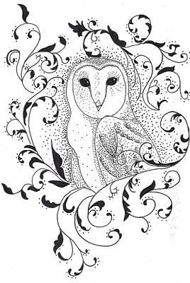 Filigree Drawing - Owl In Filigree  by Alexandra Sloan