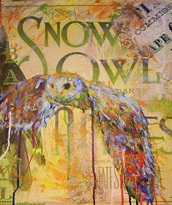 Mixed Media - Owl In Flight by Lisa McKinney