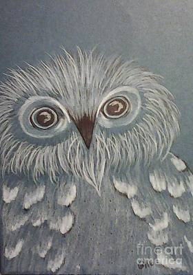Drawing - Owl In The Blue by Ginny Youngblood