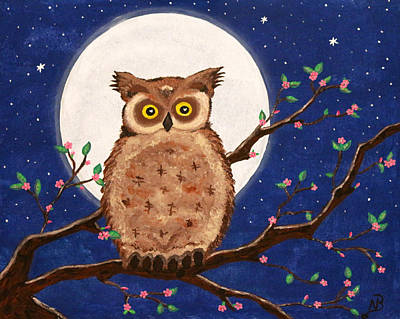 Painting - Owl In The Night by Nina Bradica