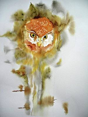 Wall Art - Painting - Owl In Tree by Dominique Bachelet