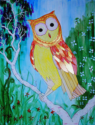 Painting - owl by Josean Rivera