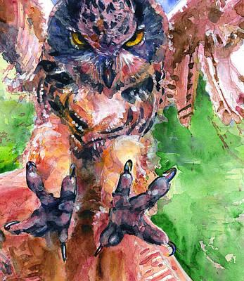 Painting - Owl Landing by John D Benson