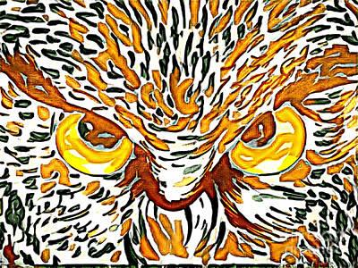 Mixed Media - Owl by Lita Kelley
