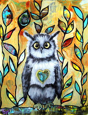 Wall Art - Painting - Owl Love by Carol Iyer