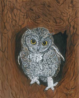 Painting - Owl by Lucinda VanVleck