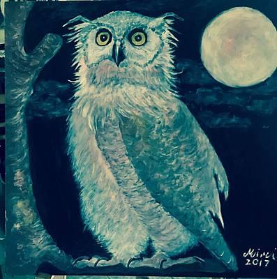 Drawing - Owl by Mimi Eskenazi