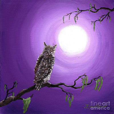 Mystical Landscape Painting - Owl On Mossy Branch by Laura Iverson