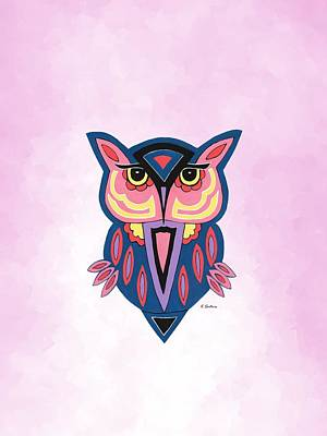 Mixed Media - Owl On Pink by Kathleen Sartoris