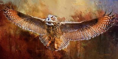 Digital Art - Owl On The Hunt by Jeanette Mahoney