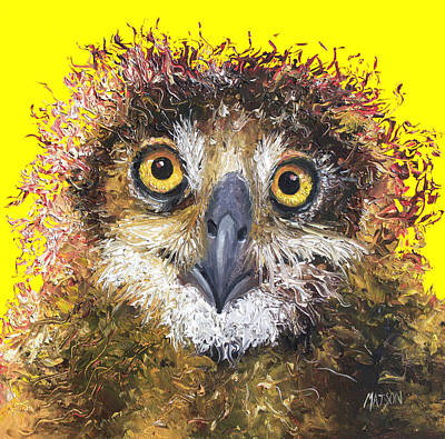 Kids Room Art Painting - Owl Painting On Yellow Background by Jan Matson