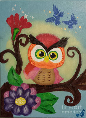 Photograph - Owl Painting  Whimsical   by Peggy Franz