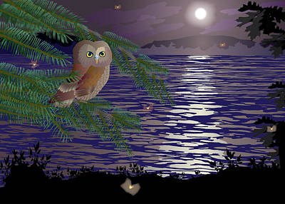 Wall Art - Painting - Owl Perched By The Lake by Marian Federspiel