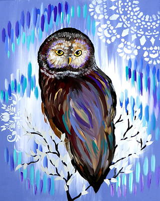 Pretty Quilts Painting - Owl Phone Case by Cathy Jacobs
