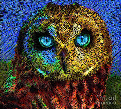 Digital Art - Owl by Rafael Salazar