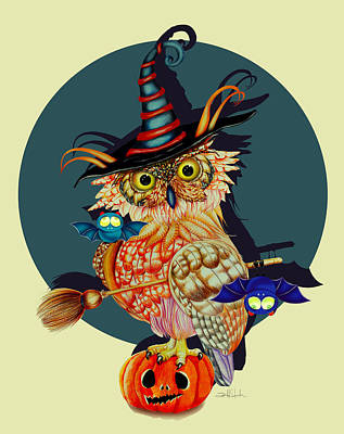 Pumpkin Drawing - Owl Scary by Isabel Salvador