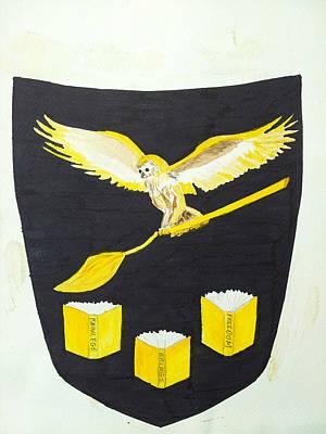 Wall Art - Drawing - Owl Shield by Helen Krummenacker