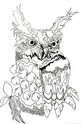 Painting - Owl Sketch 3 by Amy Sorrell