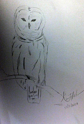 Drawing - Owl Sketch by Kimmary MacLean