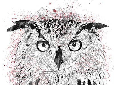 Digital Art - Owl Sketch Pen Portrait by Mihaela Pater