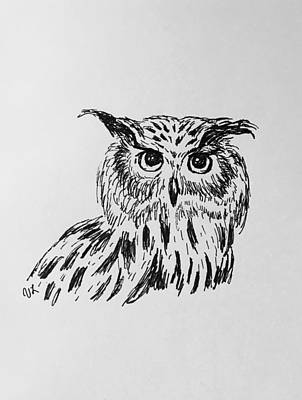 Drawing - Owl Study 2 by Victoria Lakes