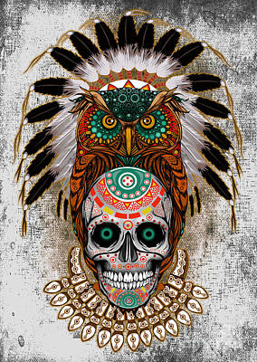 Old School Tattoos Digital Art - Owl Sugar Skull by Three Second