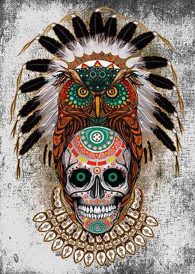 Owl Sugar Skull Art Print
