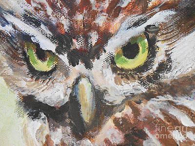 Wall Art - Painting - Owl Vision by E Bradshaw