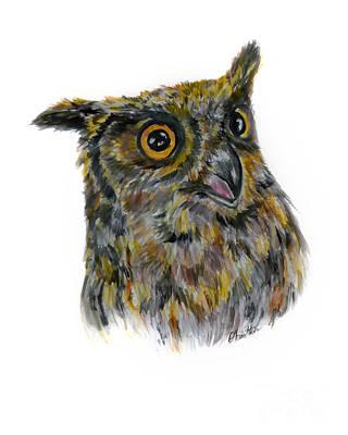 Painting - Owl Watercolor Portrait by Olga Hamilton