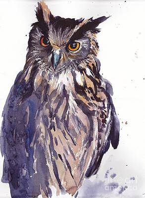 Owl Watercolor Original